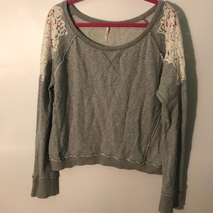 Free People Lace Shoulder Sweater